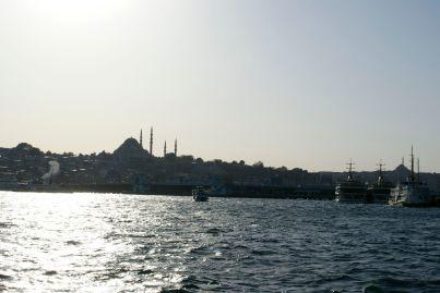 Von einem Boot am Bosporus sind die vielen Moscheen gut zu sehen.