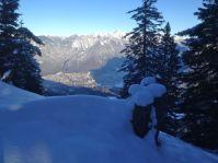 Blick auf Bludenz von knapp unterhalb des Gipfels.