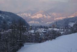 Blick auf die Stadt Feldkirch mit dem Dom St. Nikolaus.