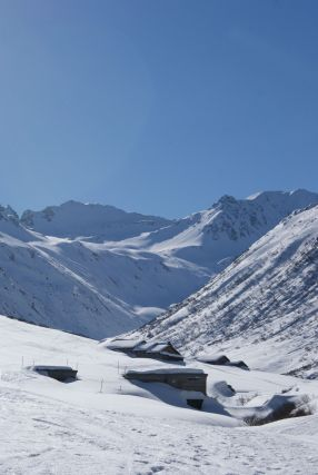 Die Vergalda-Alpe, kurz vor ihr zweigten wir ab um aufzusteigen.
