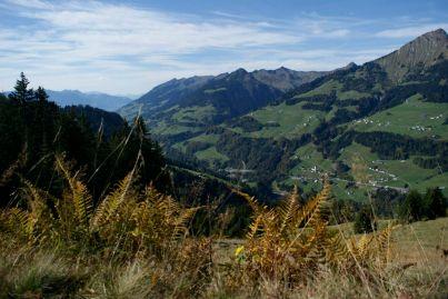 """Blick talaufwärts aus dem Walsertal. Weiter vorne ist auch das """"echte"""" Blons zu sehen."""