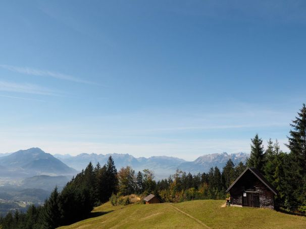 Blick hinaus Richtung Schweizer Berge.
