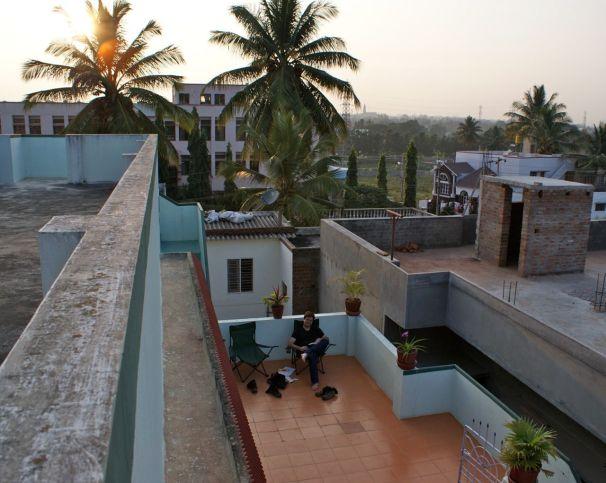 """Die tolle Terrasse """"unseres"""" Homestays in Mysore."""