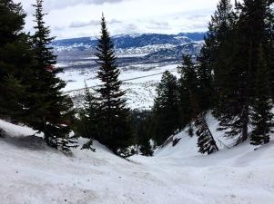Sulz-Schnee-Verhältnisse - bei Pulverschnee wäre das wohl weniger anstrengend und noch lohnender.